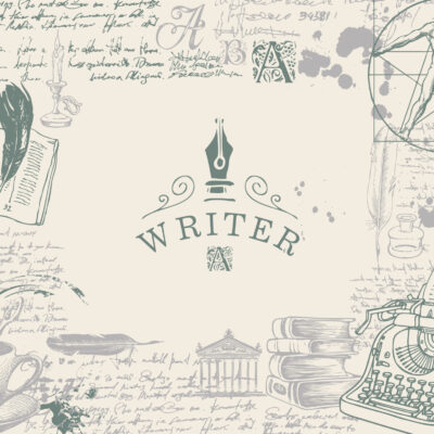 Writer workspace. Vector banner on a writers theme with sketches and place for text. Vintage artistic illustration with hand-drawn typewriter, books, handwritten scribbles and notes with ink blots